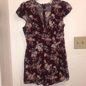 Floral Romper- Wine Color